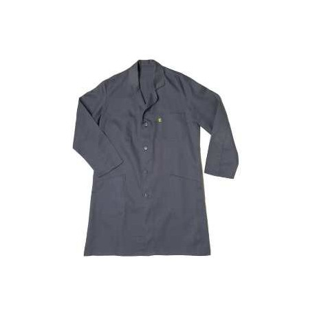Blouse d'atelier grise - 100% coton, boutons - T0 à T6 (de 36 à 62)