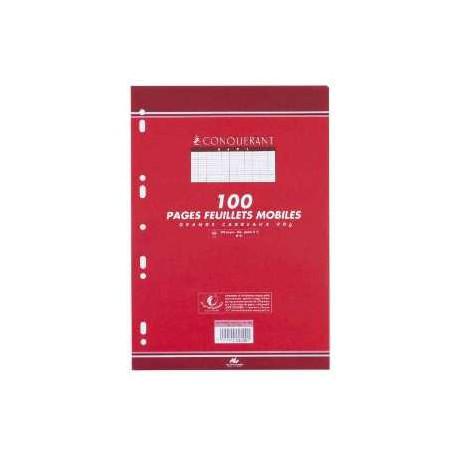 Paquet de 100 pages - feuillets mobiles perforés - feuilles simples - A4 - 21 x 29,7 - grands carreaux Séyès - 90 gr
