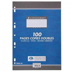 Paquet de 200 pages perforées - copies doubles - A4 - 21 x 29,7 - grands carreaux Seyes - 90 gr